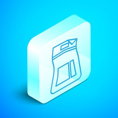 Isometric line Cement bag icon isolated on blue background. Silver square button. Vector Illustration icon