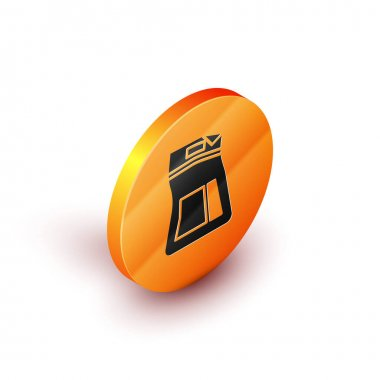 Isometric Cement bag icon isolated on white background. Orange circle button. Vector Illustration icon