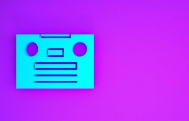Blue Retro audio cassette tape icon isolated on purple background. Minimalism concept. 3d illustration 3D render