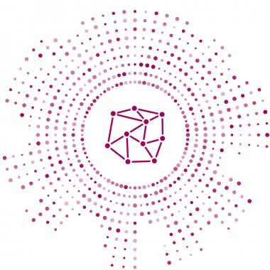 Purple Neural network icon isolated on white background. Artificial Intelligence. Abstract circle random dots. Vector Illustration
