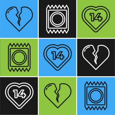 Set line Broken heart or divorce, Heart and Condom in package icon. Vector icon