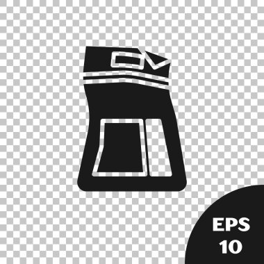 Black Cement bag icon isolated on transparent background. Vector Illustration icon