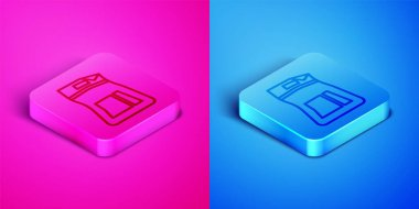 Isometric line Cement bag icon isolated on pink and blue background. Square button. Vector Illustration icon