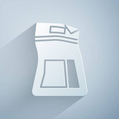 Paper cut Cement bag icon isolated on grey background. Paper art style. Vector Illustration icon