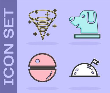 Set Planet with flag, Black hole, Death star and Dog in astronaut helmet icon. Vector