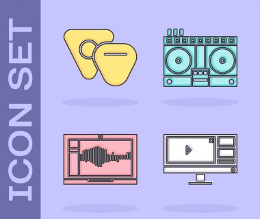 Set Video recorder or editor software on monitor, Guitar pick, Sound or audio recorder on laptop and DJ remote for playing and mixing music icon. Vector