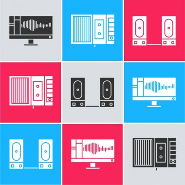 Set Sound or audio recorder on monitor, Music tape player and Stereo speaker icon. Vector