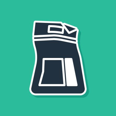 Blue Cement bag icon isolated on green background. Vector Illustration icon