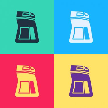 Pop art Cement bag icon isolated on color background. Vector Illustration icon