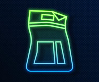 Glowing neon line Cement bag icon isolated on blue background. Vector Illustration icon