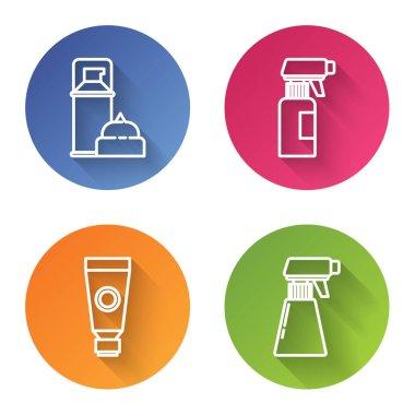 Set line Shaving gel foam, Hairdresser pistol spray bottle, Cream or lotion cosmetic tube and Hairdresser pistol spray bottle. Color circle button. Vector