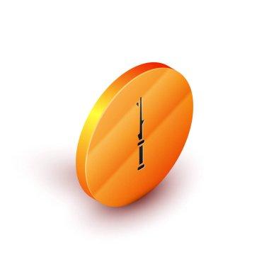 Isometric Magic wand icon isolated on white background. Star shape magic accessory. Magical power. Orange circle button. Vector Illustration