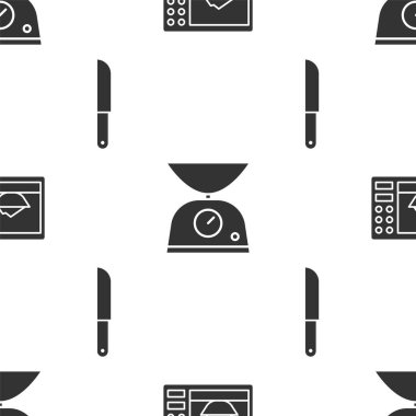 Set Microwave oven, Scales and Knife on seamless pattern. Vector