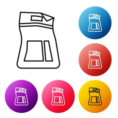Black line Cement bag icon isolated on white background. Set icons colorful circle buttons. Vector Illustration icon