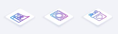 Set Isometric line Calendar with February 14, Condom in package and Gift box with heart. White square button. Vector icon