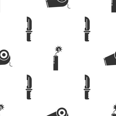 Set Cannon, Dynamite bomb stick clock and Military knife on seamless pattern. Vector