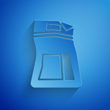 Paper cut Cement bag icon isolated on blue background. Paper art style. Vector Illustration icon