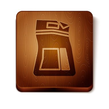 Brown Cement bag icon isolated on white background. Wooden square button. Vector Illustration icon
