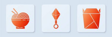 Set Japanese ninja shuriken, Asian noodles in bowl and chopsticks and Rstaurant opened take out box filled. White square button. Vector icon