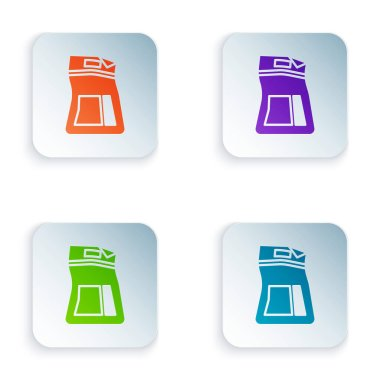 Color Cement bag icon isolated on white background. Set colorful icons in square buttons. Vector Illustration icon