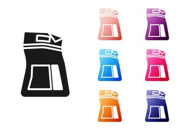 Black Cement bag icon isolated on white background. Set icons colorful. Vector Illustration icon