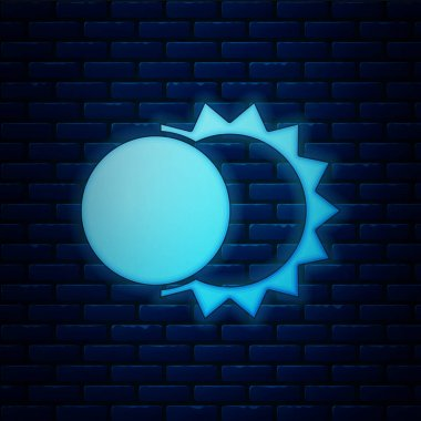 Glowing neon Eclipse of the sun icon isolated on brick wall background. Total sonar eclipse.  Vector Illustration