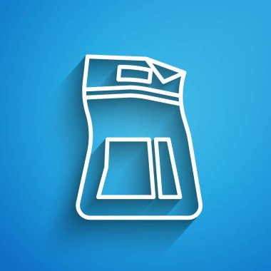 White line Cement bag icon isolated on blue background. Long shadow. Vector Illustration icon
