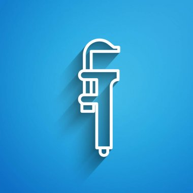 White line Calliper or caliper and scale icon isolated on blue background. Precision measuring tools. Long shadow. Vector Illustration