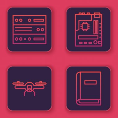 Set line Server, Data, Web Hosting, Drone flying, Motherboard and User manual. Blue square button. Vector