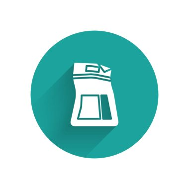 White Cement bag icon isolated with long shadow. Green circle button. Vector Illustration icon