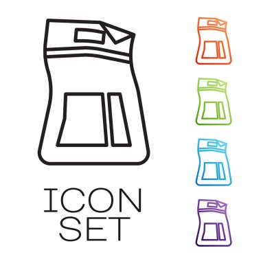 Black line Cement bag icon isolated on white background. Set icons colorful. Vector Illustration icon
