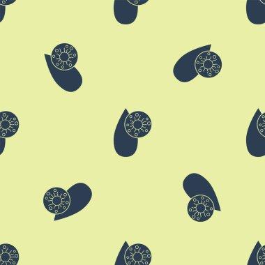 Blue Blood test and virus molecule coronavirus icon isolated seamless pattern on yellow background. Coronavirus, COVID-19. 2019-nCoV.  Vector Illustration