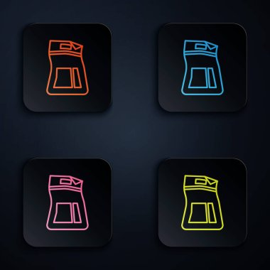 Color neon line Cement bag icon isolated on black background. Set icons in square buttons. Vector Illustration icon