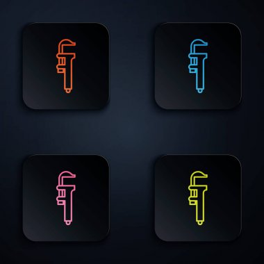 Color neon line Calliper or caliper and scale icon isolated on black background. Precision measuring tools. Set icons in square buttons. Vector Illustration