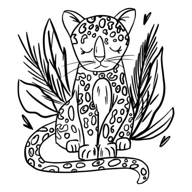cheetah doodle hand drawn coloring page. Cartoon abstract animal in scandinavian style. Wild rainforest animal. Grass branches with leaves, flowers and spots design element. Tropical jungle