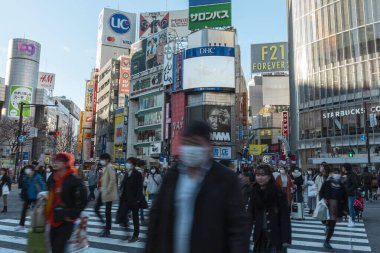Tokyo, Japan, January 31, 2020 - Pedestrians wearing wearing masks to prevent infectious diseases walk in Shibuya's famous scramble crossing.