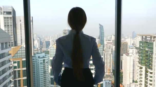 Back View of BusinessWoman Standing in Office and Looking Out Window To the City