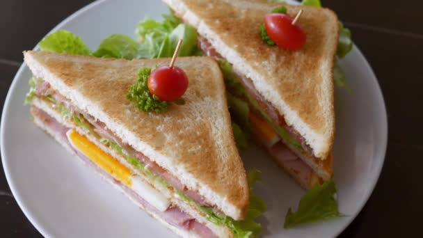 Two Triangular Sandwiches with Ham, Cheese, Egg, Lettuce, Bacon, Cherry Tomatoes
