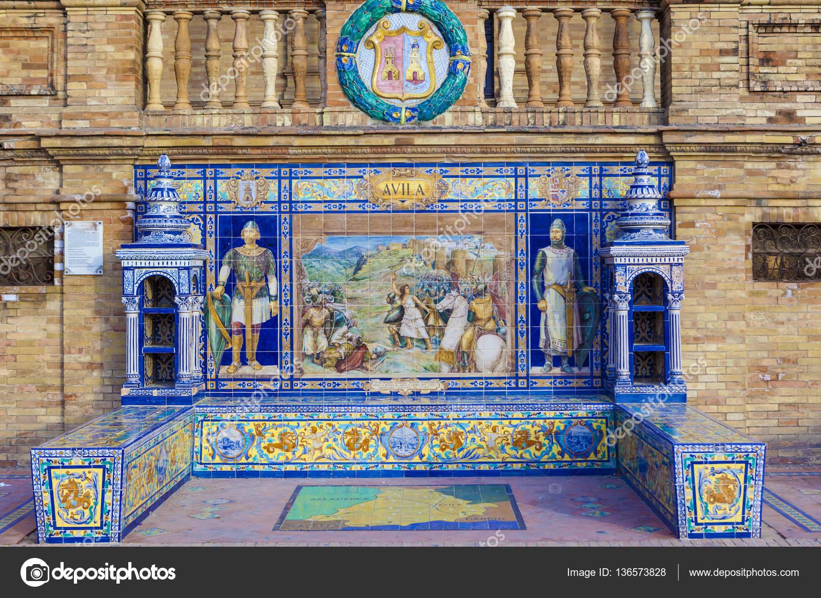 provincia de vila esmaltado de azulejos banco en plaza