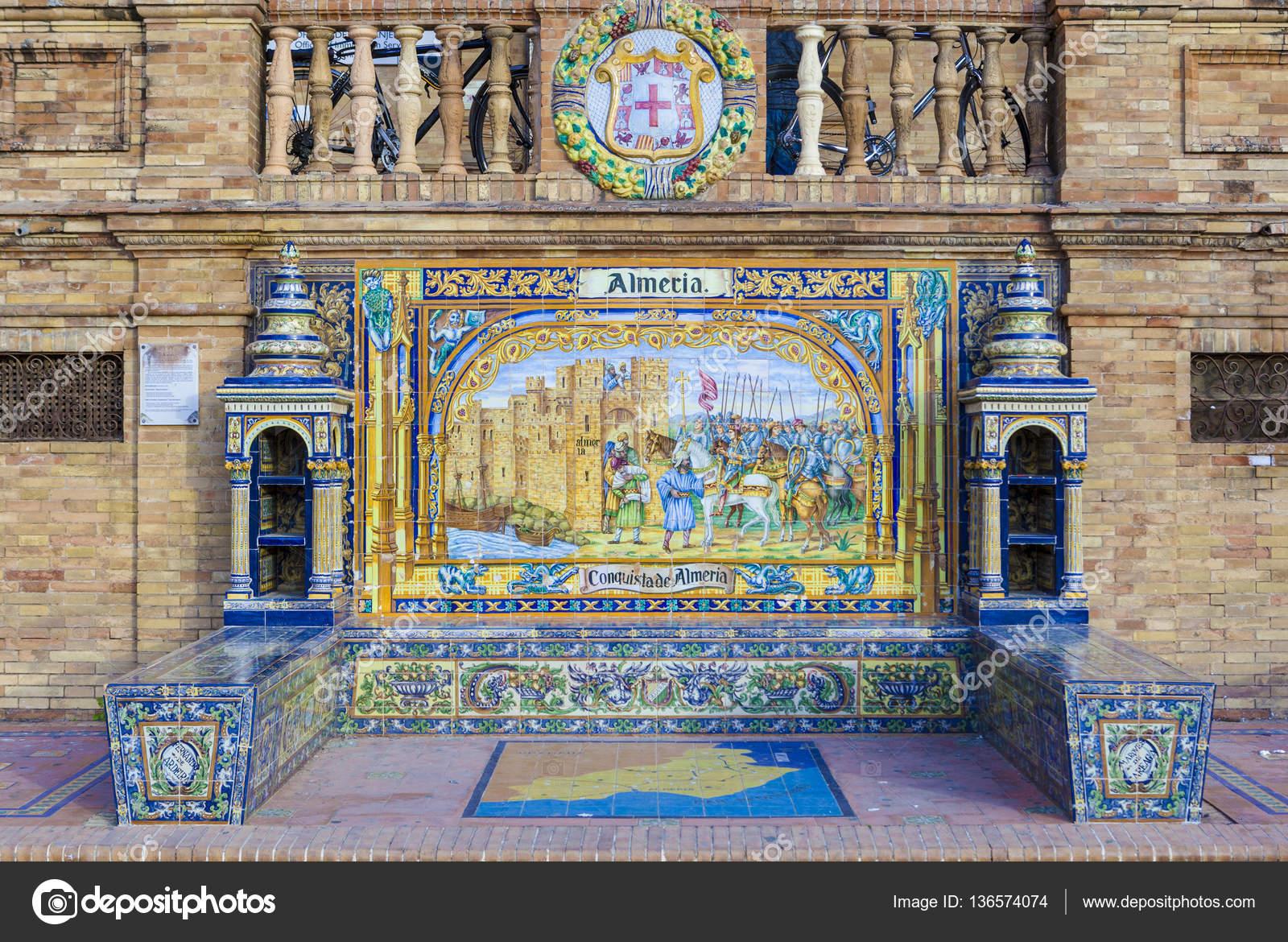 provincia de almer a esmaltado de azulejos banco en plaza