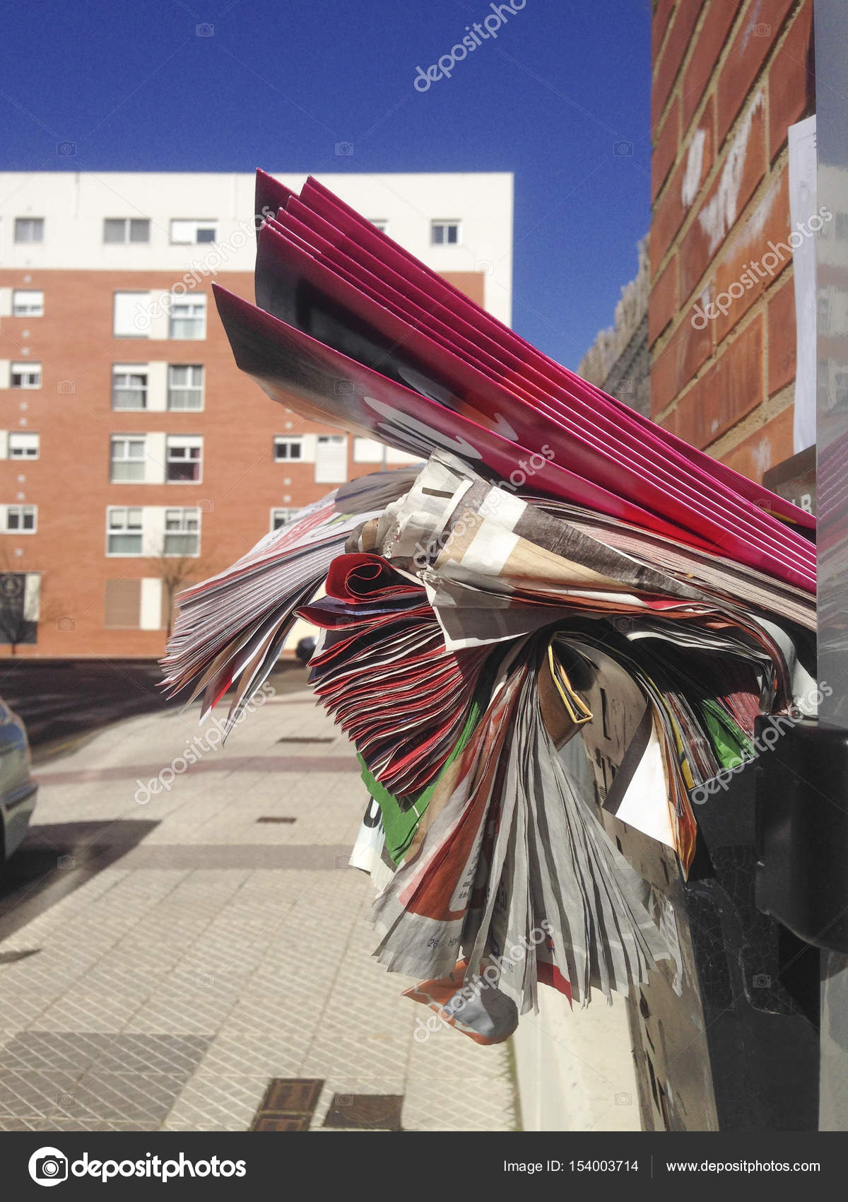 full mailbox. Mailbox Full Of Junk Adverstising Brochures Outside Apartment \u2014 Stock Photo I