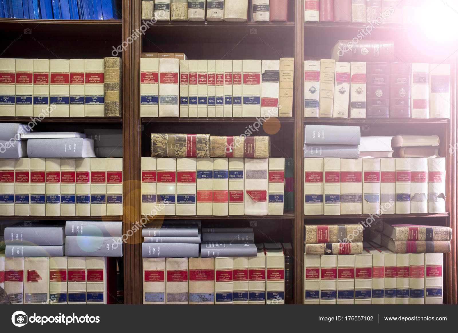 Bookshelf Plenty Of Old Legal Books Stock Photo