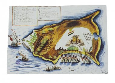 Attack of Spanish Governor of Cumana, Benito Arias Montano against Dutch facilities at Tortuga Island, 1628. General Archive of the Indies, Seville, Spain