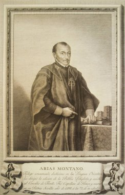 Benito Arias Montano Portrait. Spanish orientalist and editor of the Antwerp Polyglot Bible. Painted by Estevez and engraved by Ballester, 1698