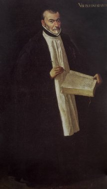 Benito Arias Montano Portrait. Spanish orientalist and editor of the Antwerp Polyglot Bible. Unknown artist, 1600. Monasterio de El Escorial