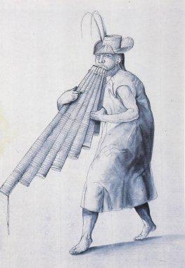 Mojo Indian playing big palm flute, 1790. 18th Century depiction of El Dorado Myth, Gran Moxo or Paititi
