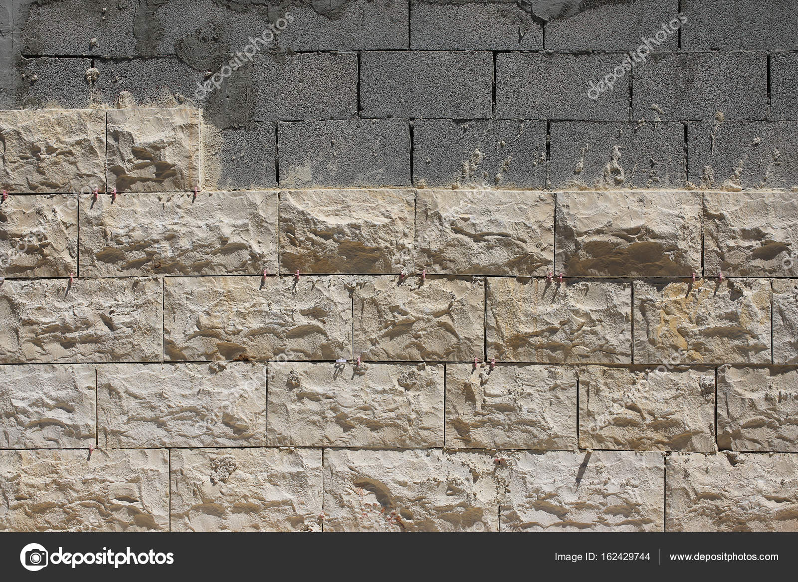 Exterior Wall Cladding With Natural Stone Stock Photo
