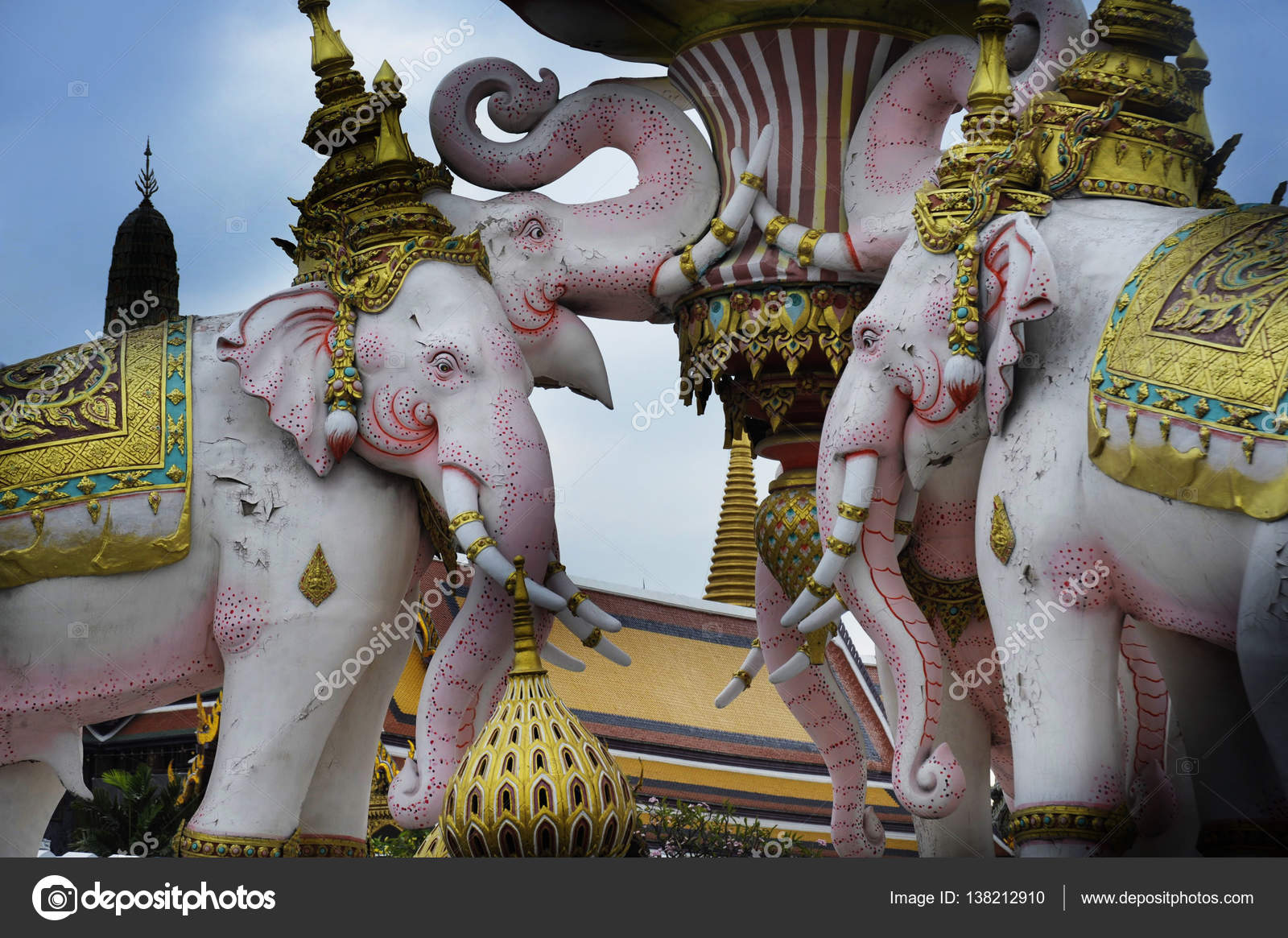 Pink Elephant Statue Next To Grand Palace In Bangkok Thailand As