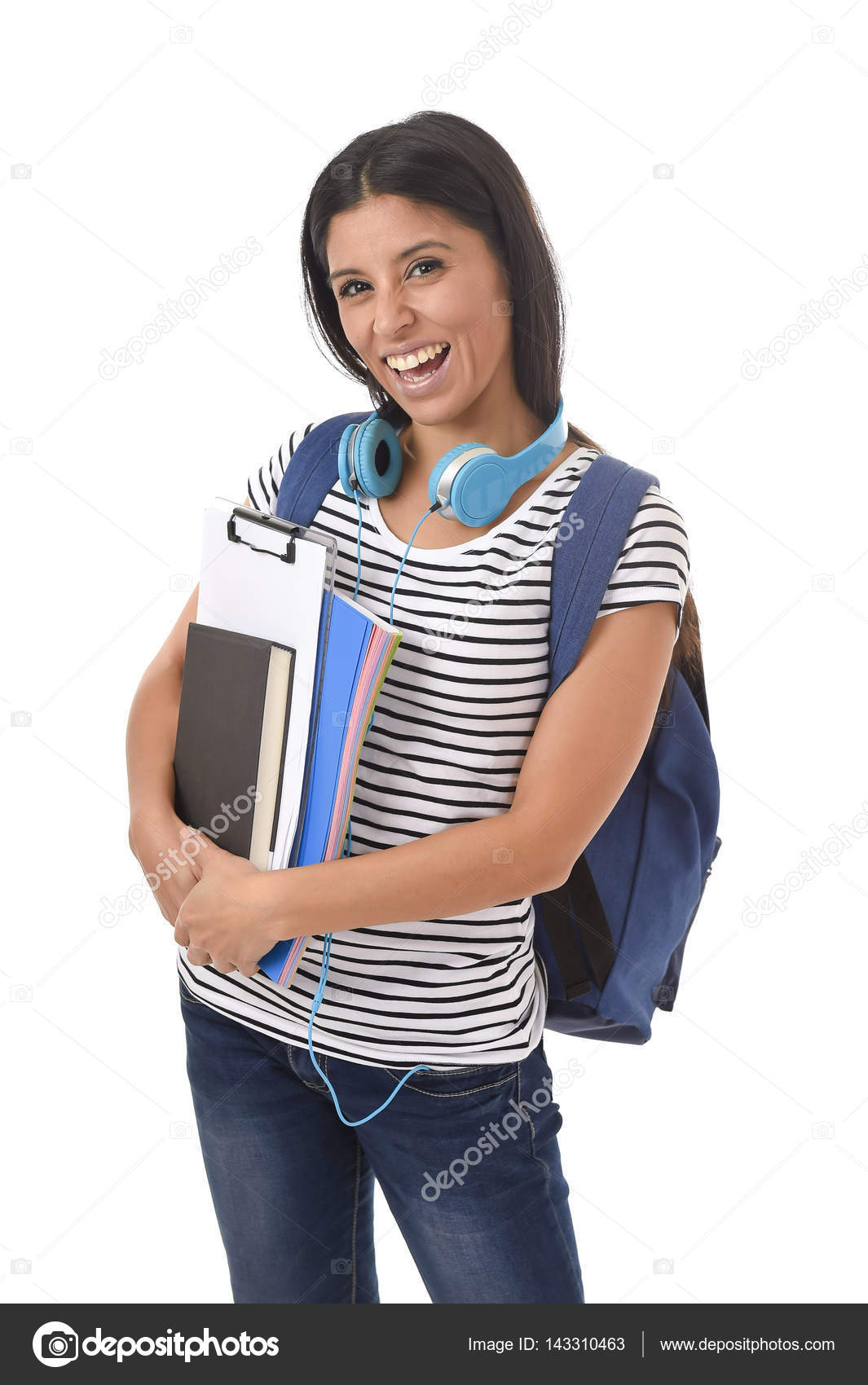 9416807348 Trendy latin student girl holding notepad folder and book carrying backpack  smiling happy — Stock Photo