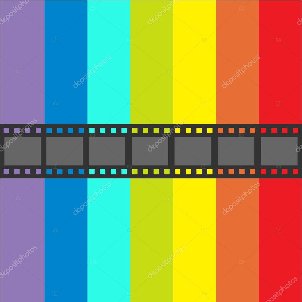 Film strip frame and colorful stripes — Stockvektor © worldofvector ...